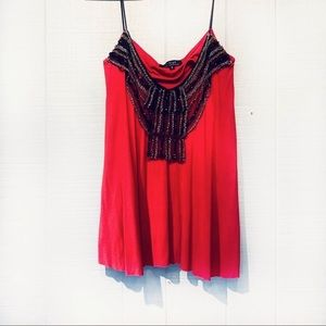T-Bags Red Embellished Flowy Tank